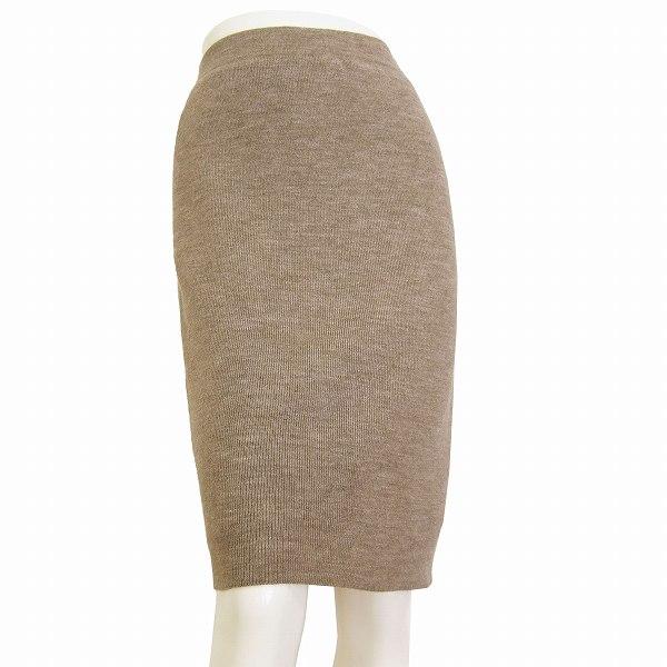 【中古】アツロウタヤマ A/T ふっくらタイトスカート 小さいサイズ 36号(7号/Sサイズ相当) 茶 ニット素材 ウール混 秋冬向け レディース ボトムス