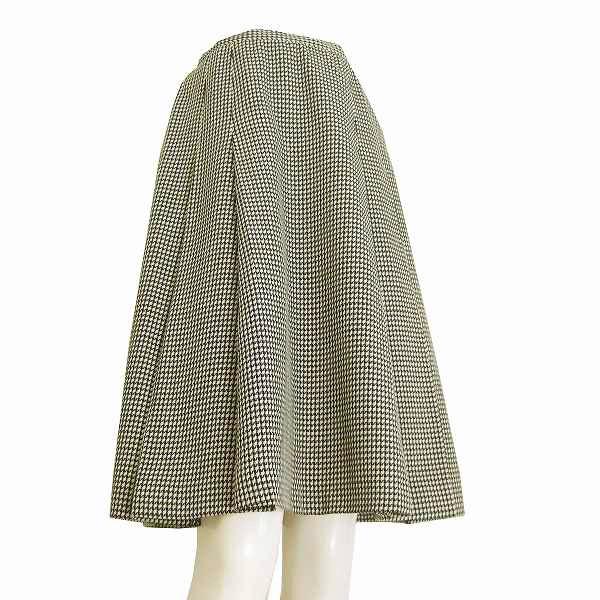 【中古】インディヴィ INDIVI 素敵プリーツスカート 小さいサイズ 36号(7号/Sサイズ相当) オフ白×黒 幾何学柄 ウール素材 秋冬向け レディース ボトムス