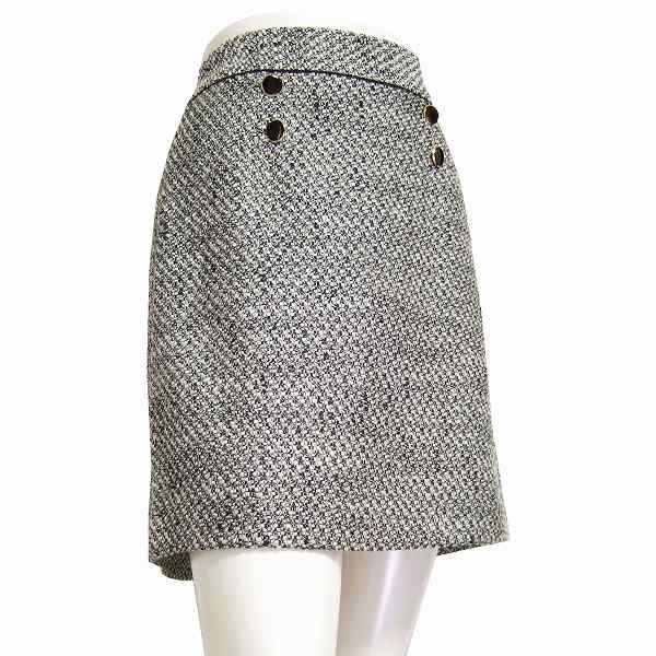【中古】インディヴィ INDIVI 美的ツイードスカート 40号(11号/Lサイズ相当) 白×黒 ウール混 秋冬向け レディース ボトムス
