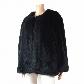 In the fall and winter Lady's outer for the Ingeborg INGEBORG pink house size 13 - 15 equivalency black / black that a fur coat has a big like swelling