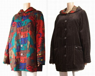 Lady's outer in winter with the entering big size 15 /17 tea / brown cotton / food for Topy's Topys reverse corduroy X POP pattern coats