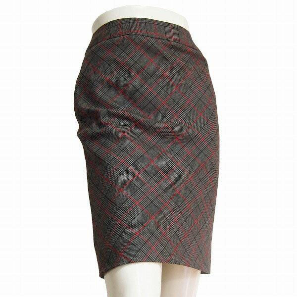 【中古】組曲 美的タイトスカート 小さいサイズ S3サイズ(7号/S相当) グレー×チェック柄 上質ウール 秋冬向け レディース