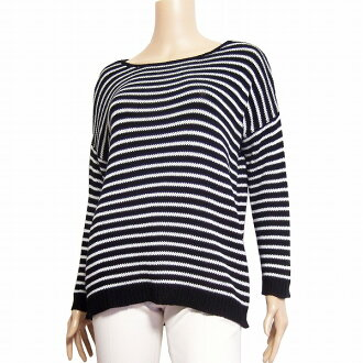 100% of theory luxe theory Luc's horizontal stripe long sleeves knit 38 (9 M equivalency) black X white cotton in spring Lady's for Natsuaki