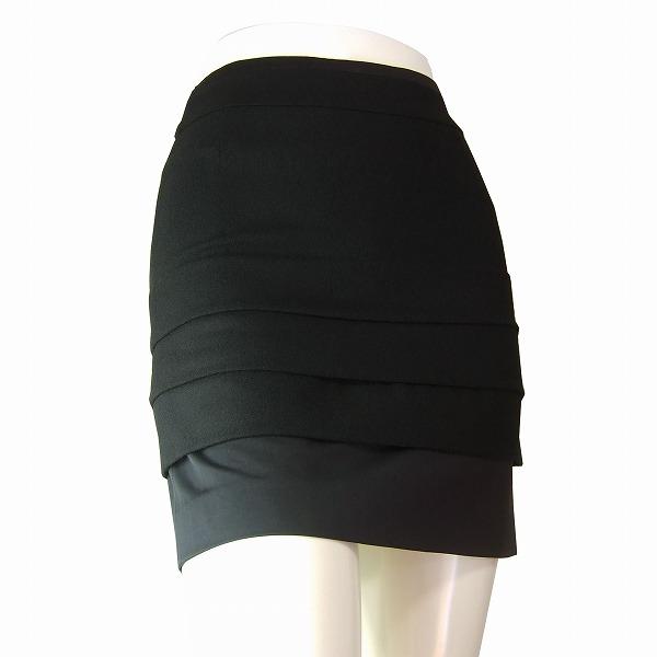 【中古】インディヴィ INDIVI 美的タイトスカート 表記5号(7号/XSサイズ相当)黒 ブラック 3段ピンタック ウール100% お出掛け パーティー 秋冬 ボトムス レディース