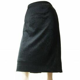 【中古】クレージュ courreges 美的スカート 表記40号(11号/Lサイズ相当) 黒/ブラック ベロア素材 秋冬向け ボトムス レディース