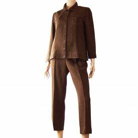【中古】レリアン Leilian 素敵パンツスーツ 表記9号(38号/M相当) 茶/ブラウン ミックスカラー ツイード素材 春夏向け レディース