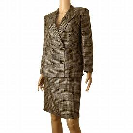 【中古】バーバリー Burberrys 高級スカートスーツ 小さいサイズ表記7号(S〜M相当) 黒/ベージュ シルク混 千鳥格子 秋冬向け レディース