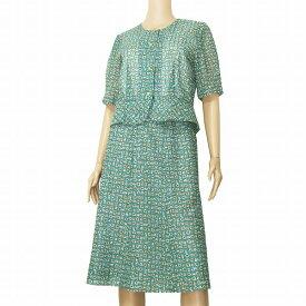 【中古】ちぐさボーベル CHIGUSA Bowbell 素敵スカートスーツ セットアップ大きいサイズ 表記13号(LL相当) 緑/グリーン モダン幾何学柄 パーティー 春夏
