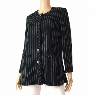 Outer Lady's in cloth Moda Biella spring and summer made in small size notation 7 (S phase our) black Italy for Leilian Leilian thin no-collar jackets