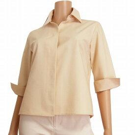 【中古】 自由区 素敵な5分袖ジャケット 表記40号(L相当) ピンク ベージュ 綿コットン素材 比翼仕立て 春夏向け アウター レディース