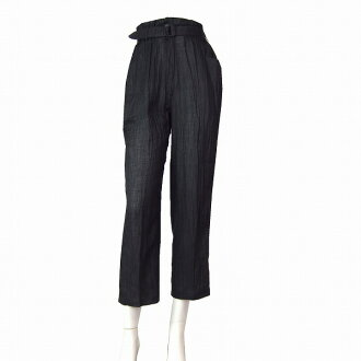 Bottoms Lady's relaxedly in spring and summer for feeling of Itariya GK hemp linen 100% underwear small size notation 7 (36 /S equivalency) black / black charcoal black wrinkle total translucency