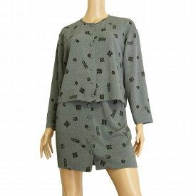 【中古】詩仙堂 ヒトシタムラ 大人なスカートスーツ セットアップ 小さいサイズ (5号/XSサイズ相当) グレー 高級ちりめん素材 モダン柄 春夏