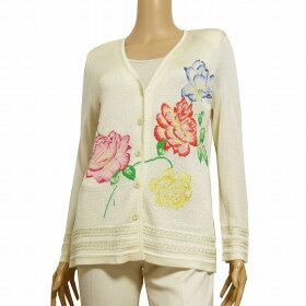 【中古】レオナールLEONARD高級なふっくらカーディガン表記L(11号相当)オフ白絹シルク100%美花柄デザイン春夏トップス