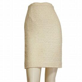 【中古】エスカーダ ESCADA 上品な美的タイトスカート 小さいサイズ 表記36(7号相当) オフ白 格子柄 秋冬向け ボトムス レディース
