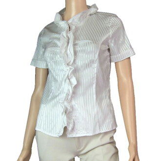 In the spring and summer tops Lady's for arrival at ナラカミーチェ NARACAMICIE stripe pattern dress blouse notation 1 (9 /M size equivalency) white / white commuting