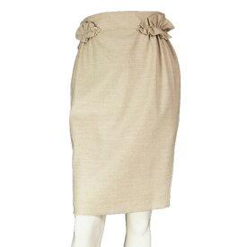 【中古】モスキーノ MOSCHINO 可憐フリル仕立てスカート I40号(9号/Mサイズ相当) ベージュ イタリア製 春秋冬向け レディース ボトムス
