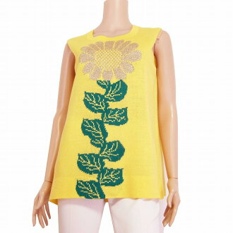 In the spring and summer tops Lady's for the beautiful woman tank top (11 /L equivalency) yellow / yellow sunflower designs that Miyako Saito heir is wonderful