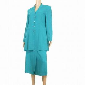 【中古】ジバンシイ GIVENCHY 高級スカートスーツ 大きいサイズ 表記42号(13号/LL相当) 青緑 透け感 ウール系薄手素材 クラシカルデザイン 春夏向け レディース