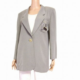In the spring and summer outer Lady's for Leilian Leilian adult tailored jacket notation 9 (38 /M equivalency) gray embroidery loose thin gold buttons