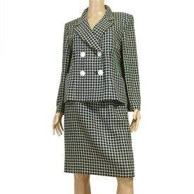 【中古】レリアン Leilian 大人な美的スカートスーツ フランス製生地 表記11号(上L/下M相当) 絹シルク混 チェック柄 春夏向け レディース