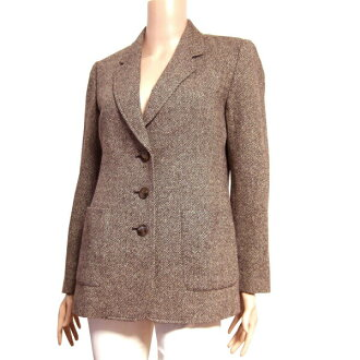 In the fall and winter outer Lady's for 絵麻亥由高級 tweed jacket notation 9 (38 /M equivalency) tea / brown wool blend silk silk blend slight lam