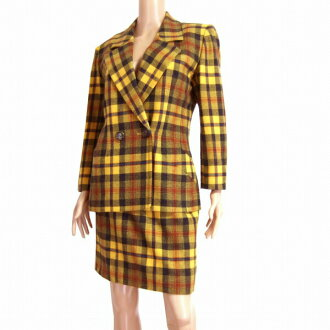 Lady's considerably in) yellow / yellow lattice pattern checked pattern classical fall and winter for Yves Saint-Laurent YVESSAINTLAURENT high quality wool skirt suit notation M(9