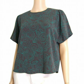 Tops Lady's in considerably gray short sleeves hand dyeing spring and summer for Shisendo Temple Hitoshi Tamura Seisakusho sum pattern overblouse high quality crepe material 9 /38 /M