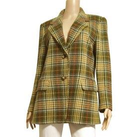 【中古】マレーラ MARELLA 高級ウールジャケット 大きいサイズ イタリア製 表記I48号(13号/LL相当) イエロー 美彩チェック柄 秋冬向け アウター レディース