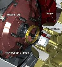 【送料無料】KYO-EI製軽合金製ハブリング4個[67mm→54mmに変換][ツバ付ハブリング]【ゴールドアルマイト仕上げ】