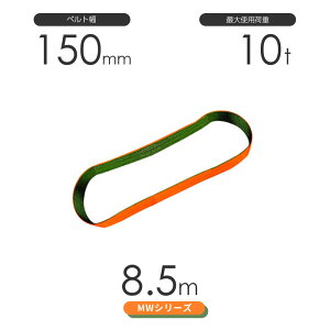 国産ナイロンスリング MWシリーズ(2色) エンドレス形(N型)幅150mm×8.5m 使用荷重:10t 丸善織物