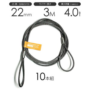 玉掛けワイヤーロープ 10本組 両アイロック加工 黒(O/O) 22mmx3m JISワイヤーロープ