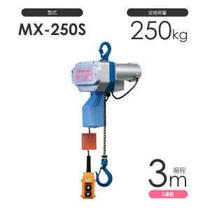 小型電動チェーンブロック シルバーミニ MX-250S 揚程3m 二速型 単相100V 電気チェーンブロック 富士製作所 日本製