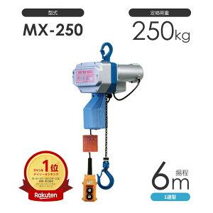 小型電動チェーンブロック シルバーミニ MX-250 揚程6m 一速型 単相100V 電気チェーンブロック 富士製作所 日本製