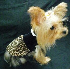 珍しい襟付きワンピース。着せると襟のフリル感が出て、とっても可愛らしく見えます。襟付きヒョウ柄ワンピース犬&猫対応【メール便なら送料210円!!】