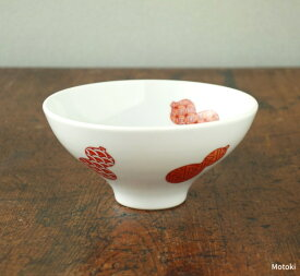 伊万里焼 赤絵地紋六瓢(無病)平飯碗