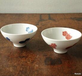 伊万里焼 地紋六瓢(無病息災)夫婦茶碗(赤絵・染付)
