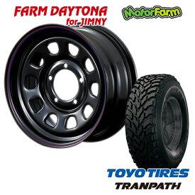FARM デイトナ ブラック/レッド・ブルーライン 16x5.5J/5H+20 トーヨー トランパス M/T 195R16 4本セット