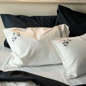 枕カバー M 43×63cm用 Soiree ピローケース ソワレ ネイビー ホワイト 白地 まくらカバー 封筒式 森清 Fab the Home FH112863