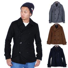 《クリアランス》メンズ Pコート アウター ジャケット ウール メルトン 防寒 ジャケットM L XL mens 「83805」