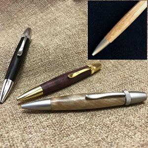 木製ボールペン 回転式[オーク材]金具:サテンニッケル<代引き不可>