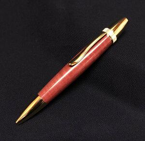 【世界の銘木ペン 回転式木製ボールペン ピンクアイボリー材】超レア希少木材(金具:ゴールド)<代引き不可>