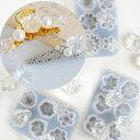 立体 お花のカボション シリコンモールド 全3種 《 カボション レジン UVレジン レジン液 uv led チャーム クラフト …