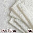 綿 刺しゅう 生地 カットクロス 6枚 セット 約48×42cm 《 6種 刺繍 レース ステッチ ナチュラル マスク インテリア ホワイト 白 コッ…