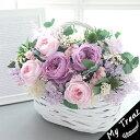 リラ プリザーブドフラワー お祝い フラワーギフト 結婚記念日 ラベンダー フェミニン ブリザードフラワ− 花 バスケット ギフト 誕生…