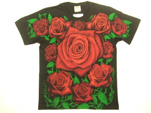 横浜最新 ばらの楽園 ♪ 深紅のバラTシャツ M, L, XL 送料220円1*