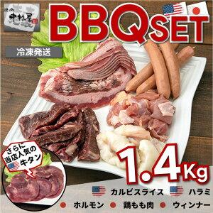 お歳暮 ギフト 内祝い 牛肉 バーベキューセット 1.4kg 焼肉 バーベキュー USA産牛タン200g USA産カルビスライス200g USA産ハラミ200g 国産牛ホルモン200g 国産鶏もも肉300g ウィンナー300g
