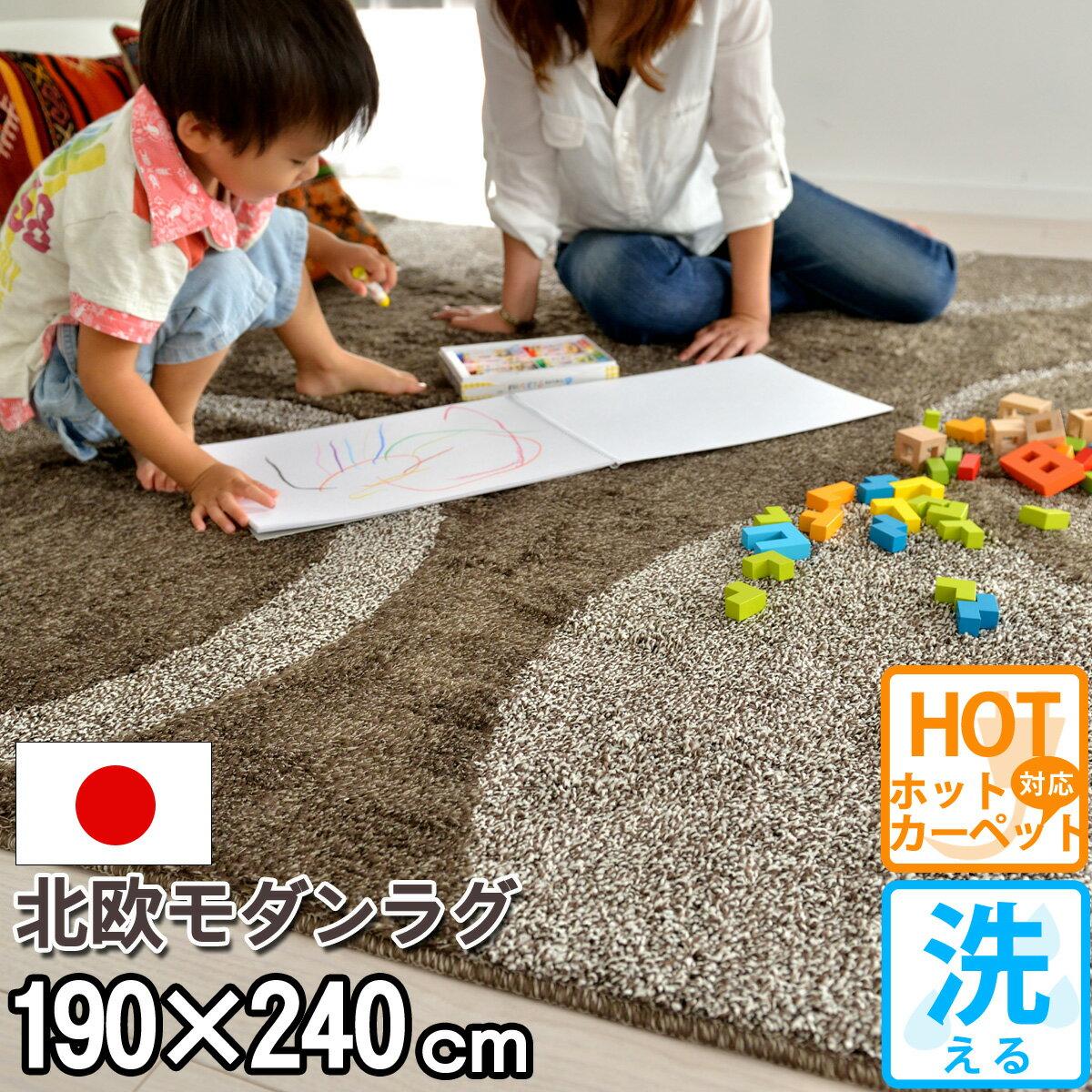 カーペット 床暖対応 ラグ 洗える 約3畳 アレルギー対策 おしゃれ ホットカーペット対応 ミックス モダン リビング 北欧 なかね家具 オールシーズン 防ダニ 柄 シャギー 赤ちゃん 日本製 茶色 マット 激安 サークル ペット 絨毯 抗菌 ブラウン 190×240 ビジャウ(R-0111905)