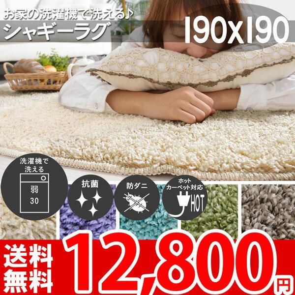 シャギーラグ 洗える(ウォッシャブル対応) 190×190 正方形 約2畳 防ダニ 抗菌 ホットカーペット対応 床暖対応 ラグマット オシャレインテリア 無地(パープル・ターコイズ・アイボリー・グリーン・ブラウン) 春夏用 センターラグ リビング 子供部屋 絨毯 シンプルシャギー(R-0152201)