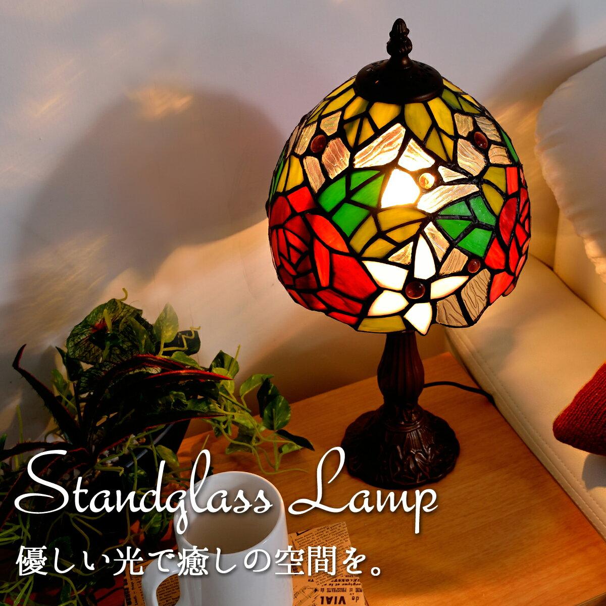 光の芸術!あたたかい光で優しく癒します 癒しのステンドランプ バイオレットローズST-2805B4 お祝い事やイベント・プレゼントにも最適 ステンドライト ステンドグラスランプ【tk】(K-0403200)