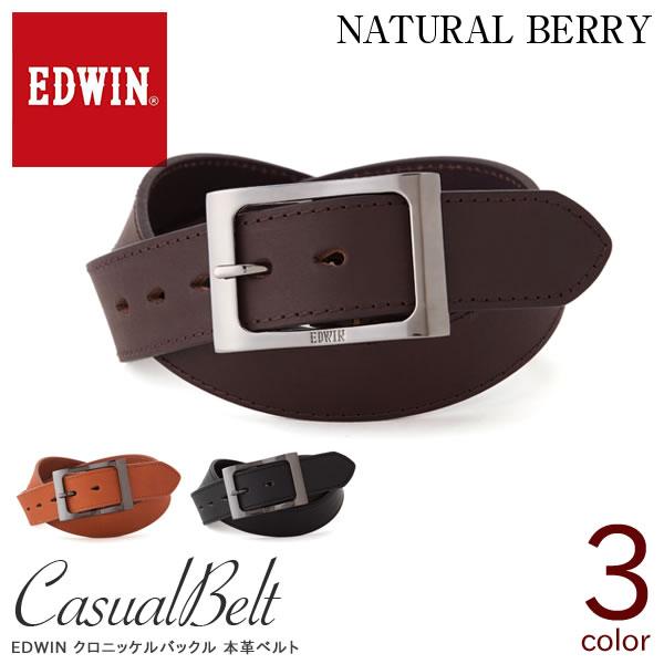 EDWIN エドウィン クロニッケルバックル 40mm幅 本革ベルト メンズ ベルト カジュアル